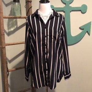Black and white button up top.